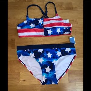 Justice 2 pc swimsuit new size 10 flag girls